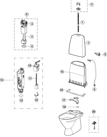 ifö toalett reservdelar